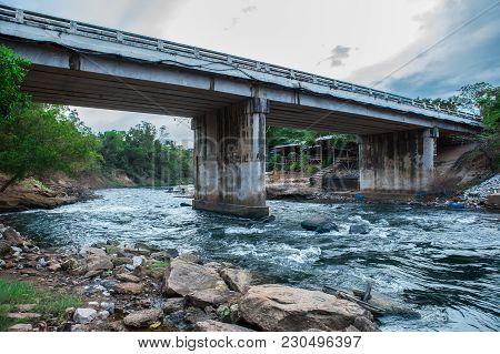 Modern Concrete Bridge Is Crossing Between Urban Area And Rural Area In Thailand