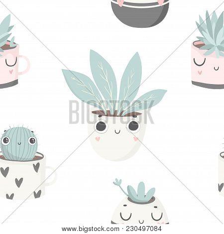 Cute Baby Plants Seamless Pattern, Nursery Isolated Illustration Children Clothing. Hand Drawn Boho
