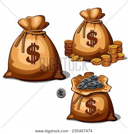 Three Bags With Gold And Silver Coins. Vector Illustration.