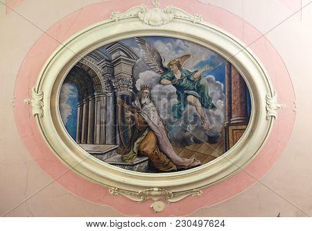 NOVIGRAD, CROATIA - SEPTEMBER 29: King David, fresco in the parish church of St. Pelagius, was until 1828 Cathedral of the Diocese of Cittanova, Novigrad, Croatia, on September 29, 2017.