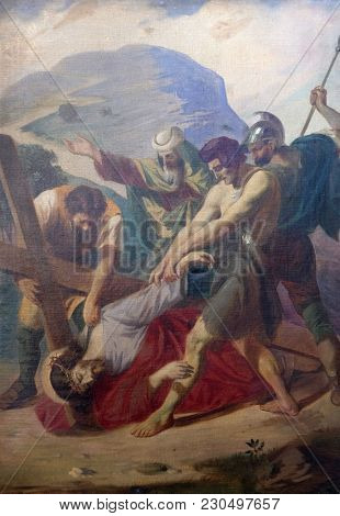 SISAK, CROATIA - DECEMBER 07: 3rd Stations of the Cross, Jesus falls the first time, Church of Visitation of the Virgin Mary in Sisak, Croatia, on December 07, 2017.