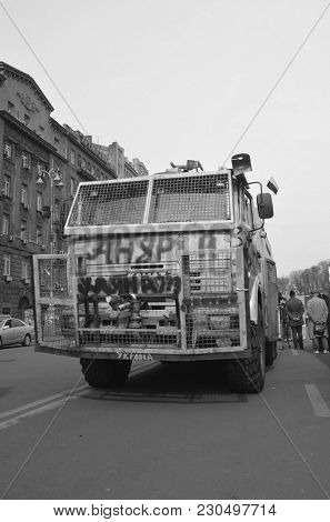 LGBT activists for the reunion Crimea with Russia, gay pride parade and European prices.  Vandalism in downtown. April 19, 2014 Kiev, Ukraine