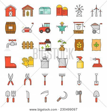 Farm And Agriculture Equipment, Filled Outline Icon