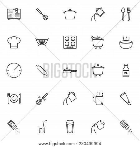 Cooking Instructions Outline Icons Set. Linear Style Symbols Collection, Line Signs Pack. Vector Gra