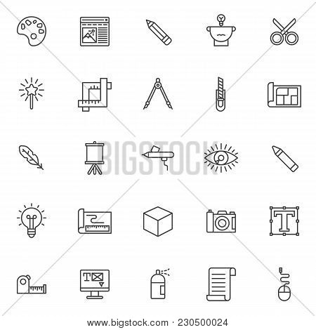 Drawing Tools Outline Icons Set. Linear Style Symbols Collection, Line Signs Pack. Vector Graphics.
