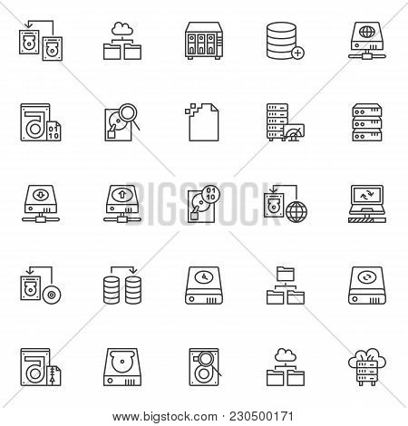 Data Recovery Outline Icons Set. Linear Style Symbols Collection, Line Signs Pack. Vector Graphics.