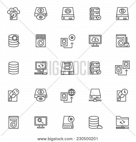 Data Recovery Elements Outline Icons Set. Linear Style Symbols Collection, Line Signs Pack. Vector G