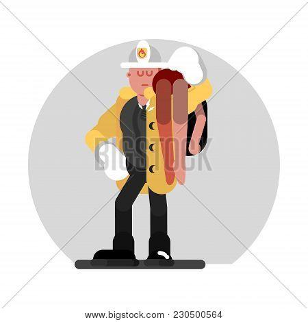 Fireman Saves The Human. Vector Illustration, Eps 10
