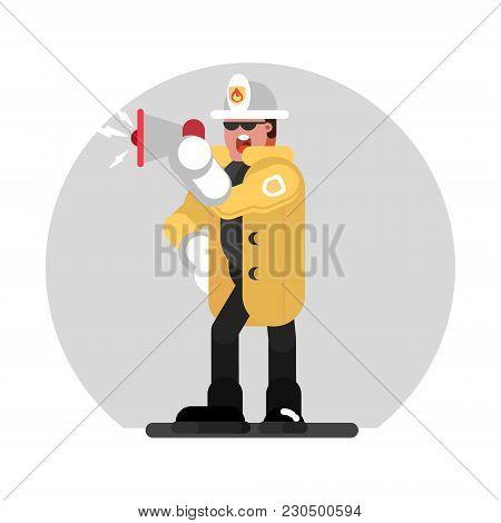 Fireman Speaks Into A Megaphone. Vector Illustration, Eps 10