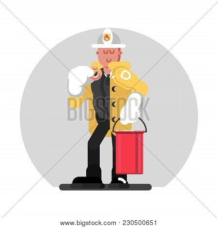 Fireman Standing With Bucket Of Water. Vector Illustration, Eps 10