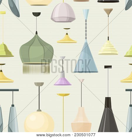 Lamps Sign Set For Interior Pattern. Electricity Floor Lamp And Table Lamps Concept. Home Decoration
