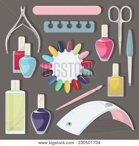 Nail Salon Set. Manicure-pedicure Set With Nails, Nail Polish, Scissors, Manicure Equipment.