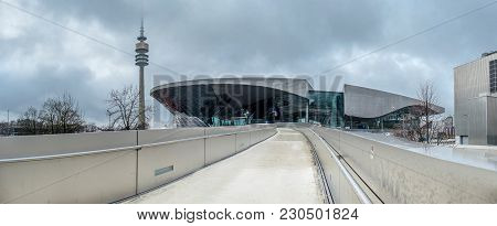 Munich , Germany - February 15 2018 : The Bmw Headquarters Are Located In The City Of Munich.