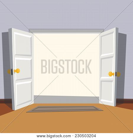 Wide Open Doorway From The Room. Welcome To Real World. Vector Illustration.