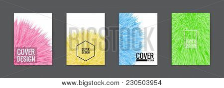 Set Of Cover Background Design Template Vector Illustration. Colorful Soft Fur Pink, Yellow, Green A