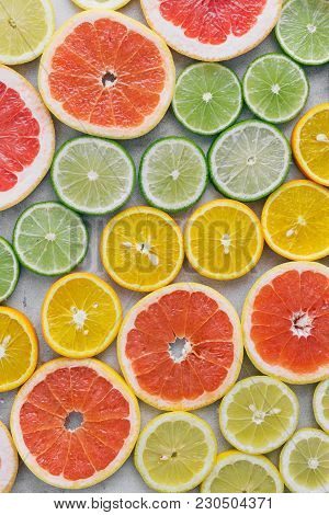 Top View Sliced Citrus Fruit Flat Lay Summer Background