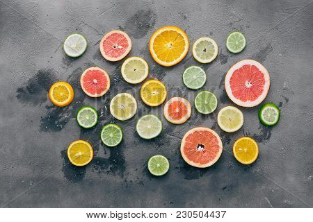 Top View Sliced Citrus Fruit Black Background Flat Lay