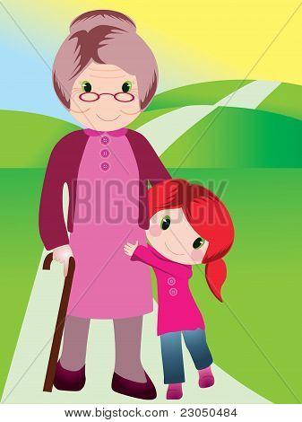 Grandmother and grandchild vector