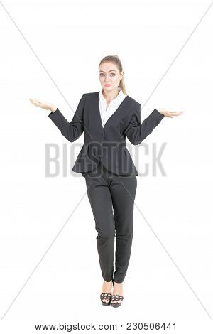 Portrait Of Young Businesswoman Confused For Work Isolated On White Background.