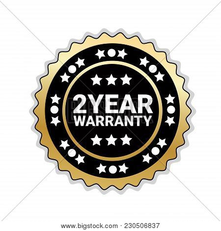2 Years Of Warranty Sticker Isolated Golden Seal Icon Vector Illustration