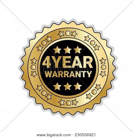 Golden Medal With 4 Year Of Warranty Sign Isolated Mark Icon Vector Illustration
