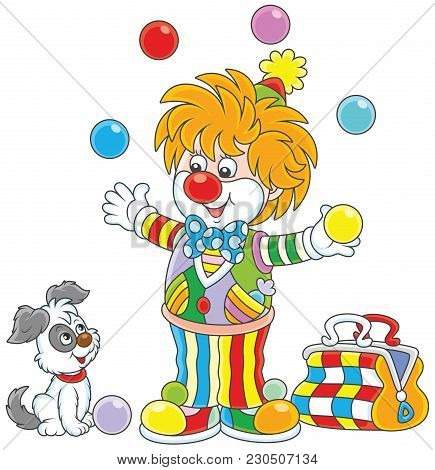 Friendly Smiling Circus Clown In A Colorful Suit Juggling With Color Balls And Playing With His Smal