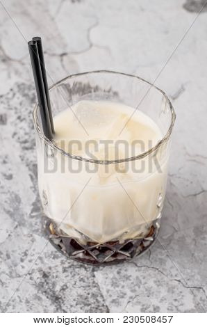 Top View Coffee Cocktail, Black Russian, Liquor In Glasses With Coffee Beans On A Gray Background, C