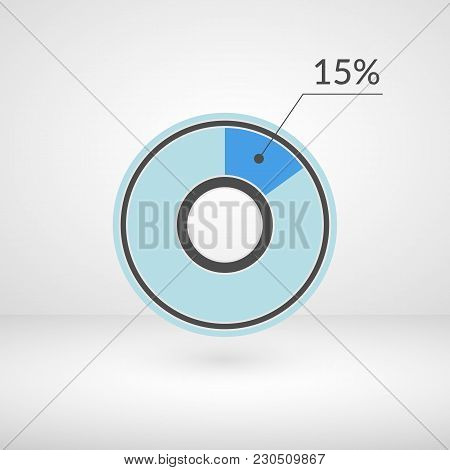 15 Percent Pie Chart Isolated Symbol. Percentage Vector Infographics. Circle Diagram Sign. Business