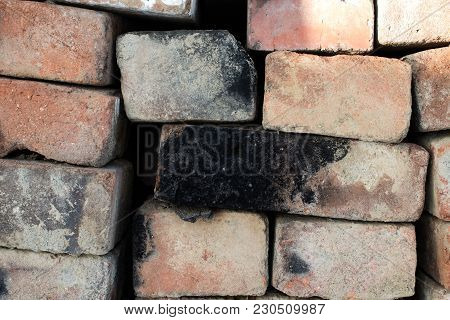 Red Brick Wall. Aged Brick Wall. Brick Old Background. Textured Material. Architectural Brickwork. S