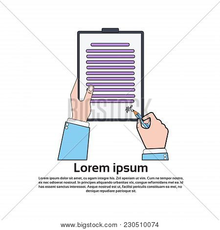 Hands Holding And Signing Business Contract Paper With Pen Isolated Icon Vector Illustration