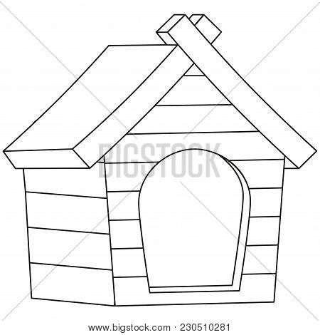 Line Art Black And White Pet House Icon Poster. Pet Care Themed Vector Illustration For Gift Card, F
