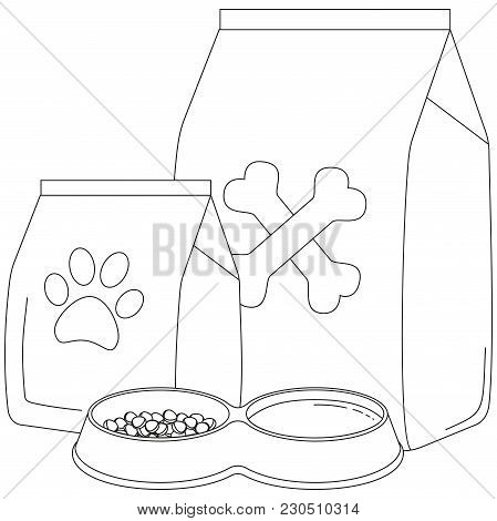Line Art Black And White Pet Food Poster. Pet Care Themed Vector Illustration For Gift Card, Flyer,