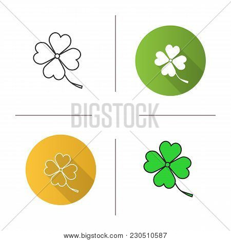 Four Leaf Clover Icon. Flat Design, Linear And Color Styles. Symbol Of Success And Good Luck. Isolat