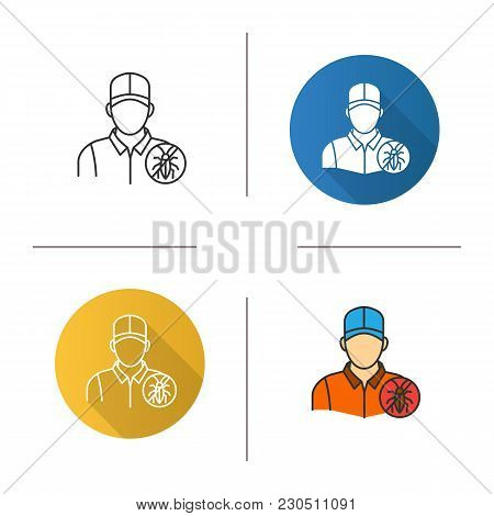 Exterminator Icon. Flat Design, Linear And Color Styles. Pest Control Service. Isolated Vector Illus