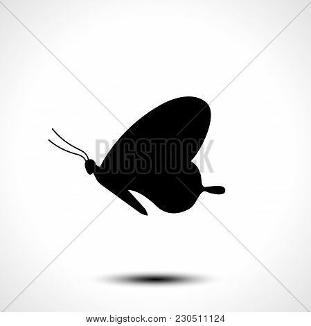 Butterfly Icon. Butterfly Silhouette On White Background. Vector Illustration