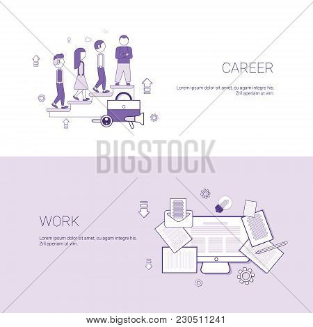 Career And Work Business Occupation Concept Template Web Banner With Copy Space Vector Illustration