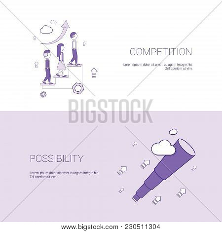Business Competition And Possibility For Development Template Web Banner With Copy Space Vector Illu