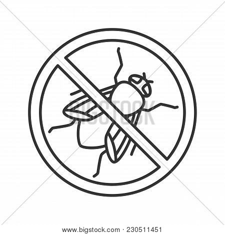 Stop Housefly Sign Linear Icon. Flying Insects Repellent. Pest Control. Thin Line Illustration. Cont
