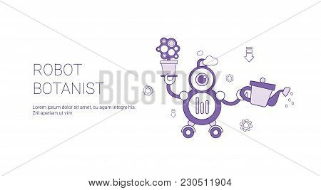 Robot Botanist Template Web Banner With Copy Space Vector Illustration