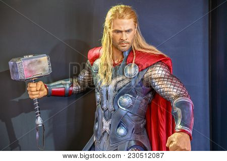 Tokyo, Japan - April 20, 2017: Portrait Of Thor Chris Hemsworth, God Of Thunder, Model With An Encha