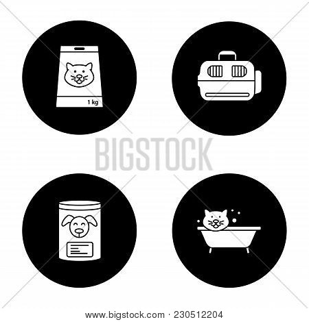 Pets Supplies Glyph Icons Set. Canned Pets Food, Bathing Cat, Domestic Animal Carrier. Vector White