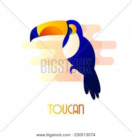 Toucan Icon In Flat Style. Vector Summer Illustration.