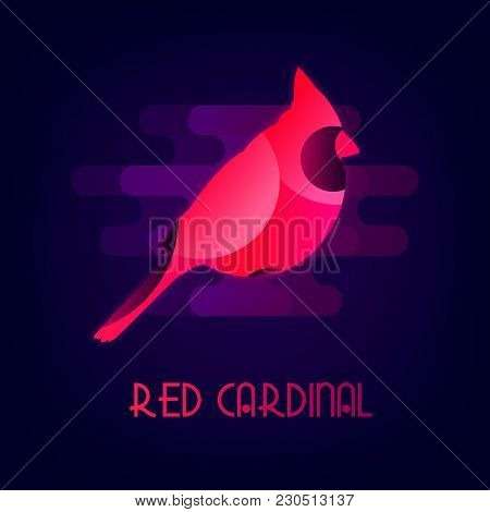 Red Cardinal Vector Icon With The Neon Glow. Flat Design.