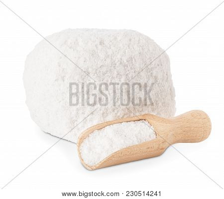 Lump Of Salt And Scoop Isolated On White Background