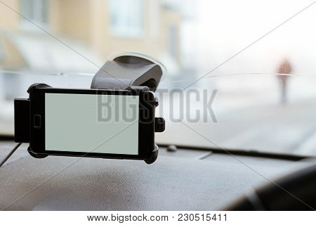 Car Smartphone Holder Attached To Windscreen Auto
