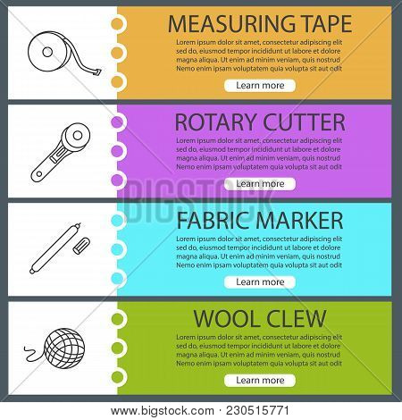 Tailoring Web Banner Templates Set. Measuring Tape, Rotary Cutter, Fabric Marker Pen, Wool Clew. Web