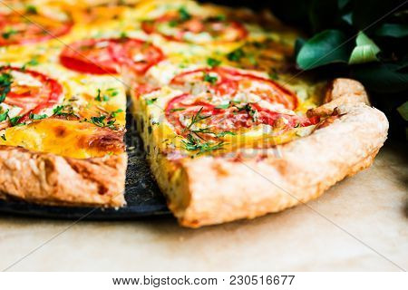 Picnic Food. Homemade Puff Pastry Pizza Pie With Cream Cheese And Dill Filling, Mozzarella Cheese, T