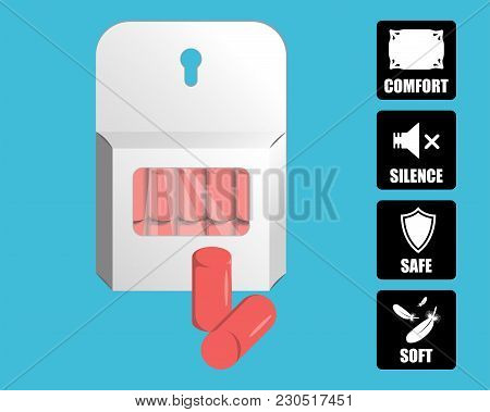 Earplugs Vector Illustration. Package Of Foam Ear Plugs With Usage Icons Set. Isolated Foam Earplugs