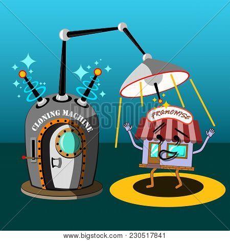 Fancy Science Fiction Cloning Machine. Conceptual Flat Art Illustration Of Franchise Business Expans