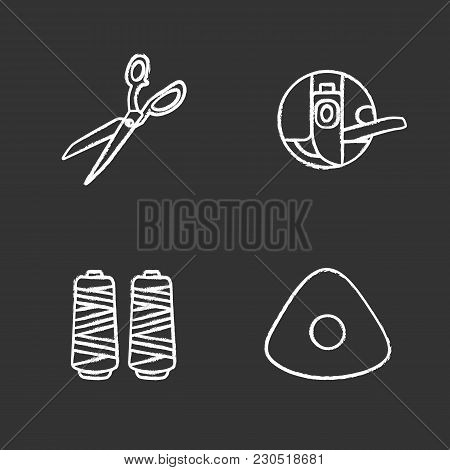 Tailoring Chalk Icons Set. Fabric Scissors, Bobbin Case, Thread Spool, Sewing Chalk. Isolated Vector